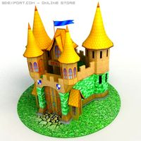 Low Poly Dreamland castle 3D Model