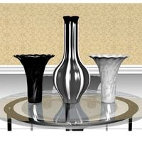 Black and White Vase Collection 3D Model
