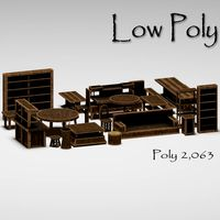 Toon Low Poly Wood Furniture