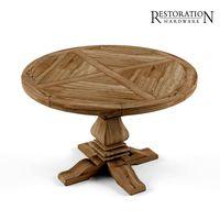 Restoration Hardware Trestle Salvaged Wood Extension Dining Table 3d Models