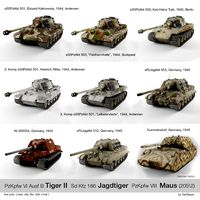 German tanks (pack) Tiger II, Jagdtiger, Maus