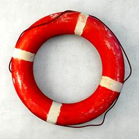 1950s Deep Orange and White Life Preserver