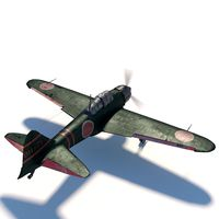 3D Mitsubishi A6M5 Zero - Rigged Model