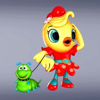 Cartoon Girl Chiken With Worm