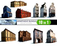 10 Building Pack Low poly