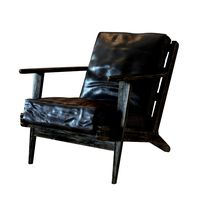 Four Hands Irondale Brooks Lounge Chair in Ebony Black Wash Weather