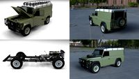 Land Rover Defender 110 Hard Top w chassis and interior HDRI