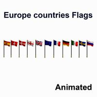 Flags of Europe countries Collection - Animated