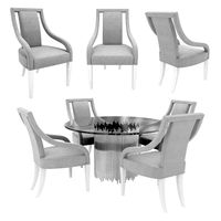 Bernhardt calista arm chair and round dining table 3d model