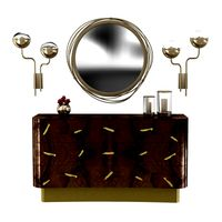 Brabbu kayan mirror, niku wall lamp and baraka chest