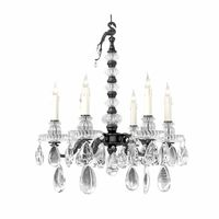 Maison Bagues Bronze Crystal and Rock Crystal Six-Light Chandelier
