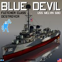 BLUE DEVIL Fletcher class destroyer USS Melvin DD-680