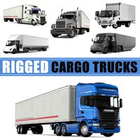 Rigged Cargo Trucks 3D Models Collection