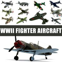 WWII Fighter Aircraft 3D Models Collection