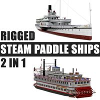Rigged Steam Paddle Ships 3D Models Collection
