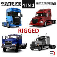 Rigged Trucks 3D Models Collection