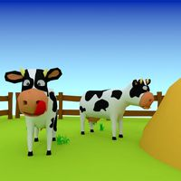 cartoon cow low poly