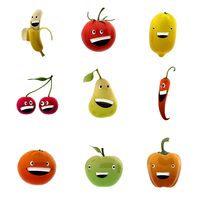 Smiling fruits and veggies collection