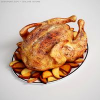 Roasted Chicken  Potatoes 3D Model