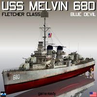 USS Melvin DD-680 Blue Devil Fletcher class destroyer