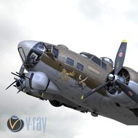 3D B-17 Flying Fortress Bomber V-Ray materials