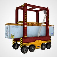 Straddle Carrier Red and Container