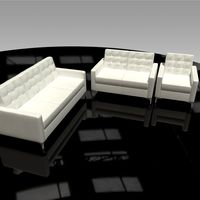 Leather Sofa, Chair and Loveseat 3D Model