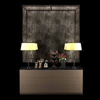 Cabinet with table lamps,mirror,sculpture, candles and roses 2