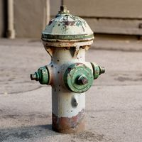 White and green fire hydrant