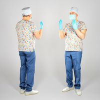 Adult surgeon doctor with mask and gloves 61