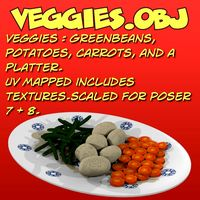 3d veggies potatoes carrots