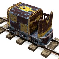 Mining Locomotive on Railway Section Rusted