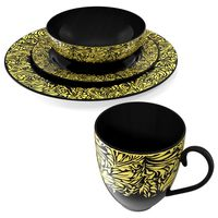 Black and Gold Dinnerware Set