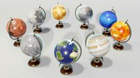 Solar System Planets Globes 3D Model
