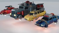 Scifi Car Collection Low Poly