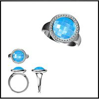 Silver rings with coloured stones cad color stone ring | 3D
