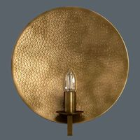 Hammered brass round wall light
