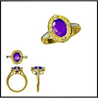Art deco color stone ring cad color stone ring | 3D