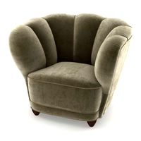 Danish 1940s Viggo Boesen Style Club Chair in Beech and Mohair