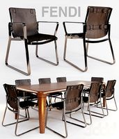 стул blixen chair fendi и стол serengeti by fendi casa
