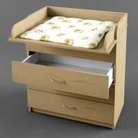Chest of drawers with changing table 3D Model
